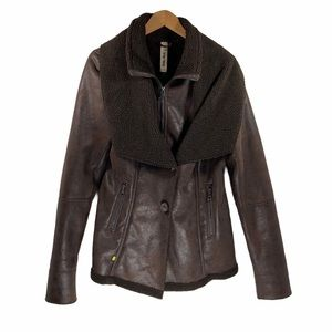 Soia & Kyo Faux Leather Sherpa Lined Jacket Coat XL